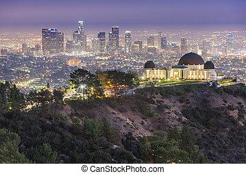公園, スカイライン, カリフォルニア, アメリカ, ダウンタウンに, アンジェルという名前の人たち, griffith, los