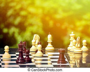 公園, チェス, テーブル, 小片