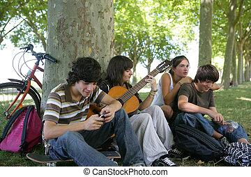 公園, ティーンエージャーの, 友人, グループ, 集まった