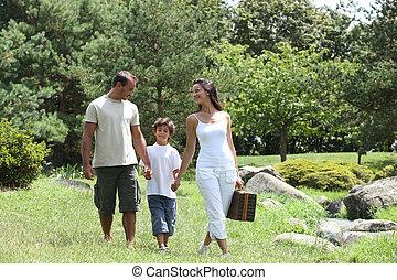 公園, ピクニック, 持つこと, 家族