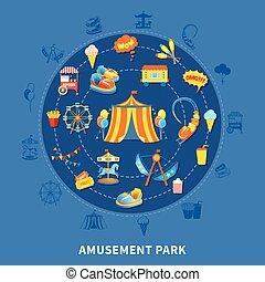 公園, ベクトル, セット, 娯楽, イラスト
