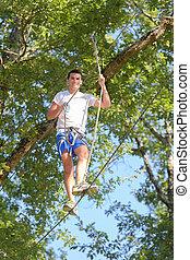 公園, ロープ, 冒険, 保有物, 登山家, 人
