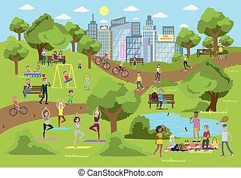 公園, 中に, ∥, city.