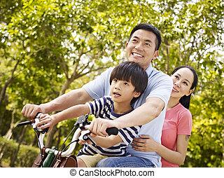 公園, 乗馬, 家族, 自転車, アジア人