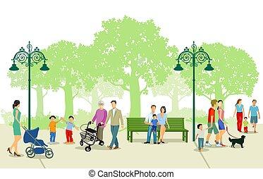 公園, 人々, 都市, レジャー