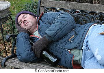 公園, 人, -, ホームレスである, ベンチ