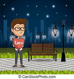 公園, 人, 愛, 夜