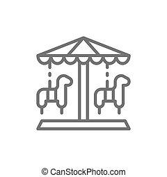 公園, 伝統的である, roundabout, メリーゴーランド, 線, icon., 娯楽, 回転木馬