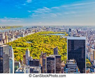 公園, 光景, 中央である, ヨーク, 新しい