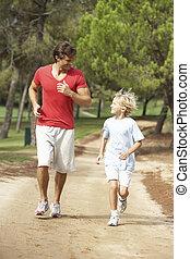 公園, 動くこと, 父, 息子