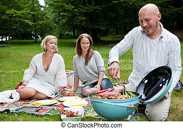 公園, 友人, ピクニック, bbq
