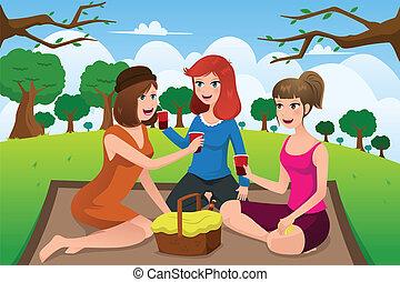 公園, 女性, ピクニック, 若い, 持つこと