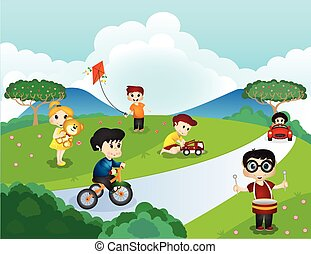 公園, 子供たちが遊ぶ