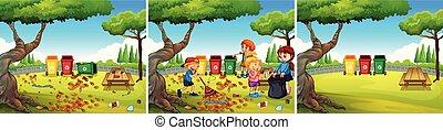 公園, 子供, グループ, 清掃, ボランティア