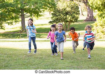 公園, 子供, 競争