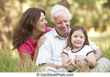 公園, 孫娘, 娘, 祖父