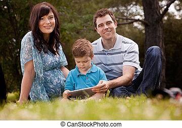公園, 家族, タブレット, デジタル