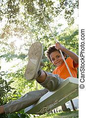 公園, 小さい 男の子, 変動, 幸せ
