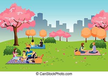 公園, 屋外, 持つこと, 人々, 春, の間, ピクニック