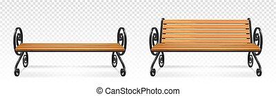公園, 席, 木製である, 屋外, 木, ベンチ, ブラウン