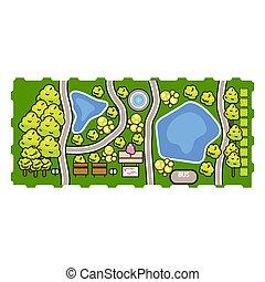 公園, 平面図, ベクトル, illustration.