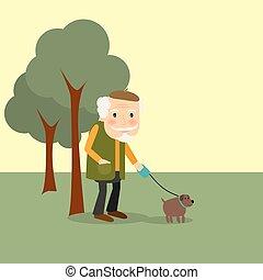 公園, 年がいった犬, 人