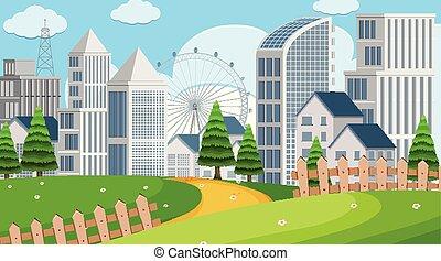 公園, 建物, 現場