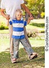 公園, 彼の, 父, 息子, 遊び