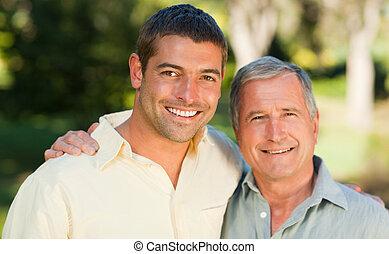 公園, 彼の, 見る, 父, カメラ, 息子