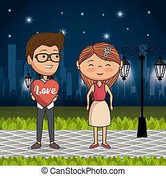 公園, 恋人, 愛, 夜
