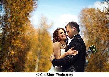 公園, 恋人, -, 抱き合う, 秋, 優しさ