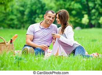 公園, 恋人, 持つ, ピクニック, 若い