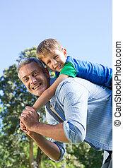 公園, 持つこと, 父, 息子, 楽しみ