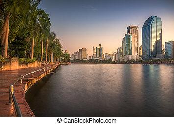 公園, 方法, 木製である, 湖, 都市, 歩きなさい