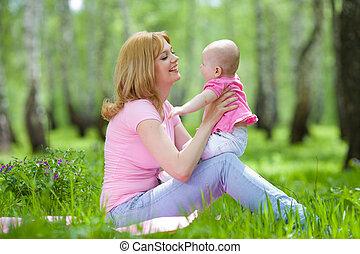 公園, 春, シラカバ, 娘, 母