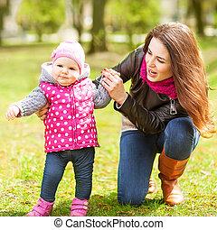 公園, 春, 娘, 母