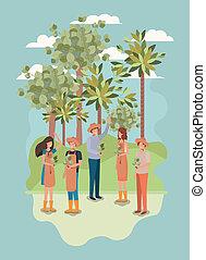公園, 植えつけ, グループ, 木, 人々