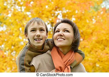 公園, 母, 息子, 美しい