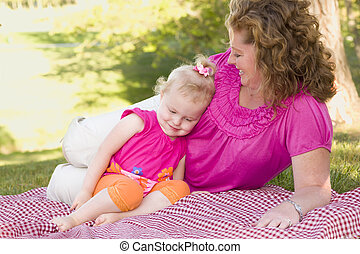 公園, 毛布, 娘, 母