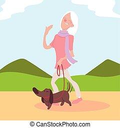 公園, 活動的な 先輩, 年がいった犬, 歩く, 女
