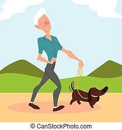 公園, 活動的な 先輩, 老人, 犬, 歩く