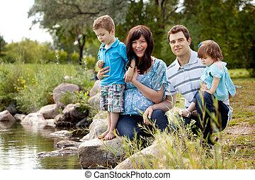 公園, 湖, 家族