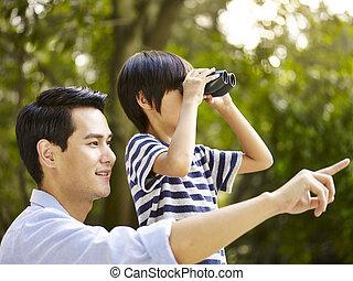 公園, 父, アジア人, 息子