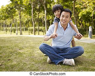 公園, 父, 息子, アジア人, 楽しみ, 持つこと