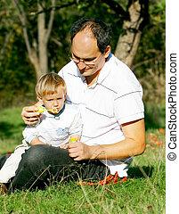 公園, 父, 息子