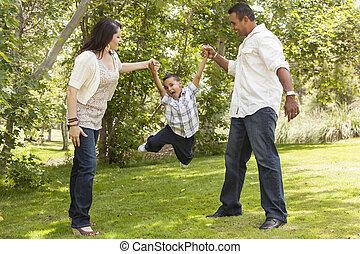 公園, 父, 息子, ヒスパニック, 振動, 母