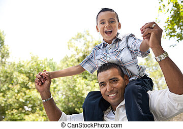 公園, 父, 息子, ヒスパニック, 楽しみ, 持つこと