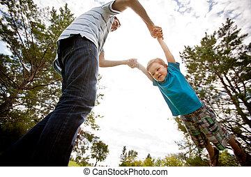 公園, 父, 遊び, 息子