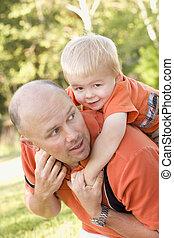 公園, 父, piggyback, 息子