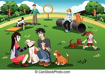 公園, 犬, 人々